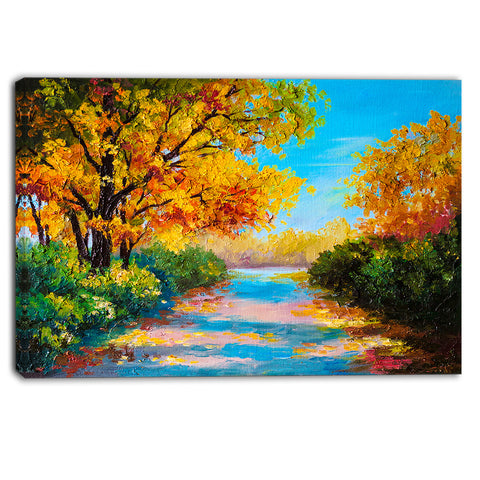 autumn forest with colorful river landscape canvas print PT6226