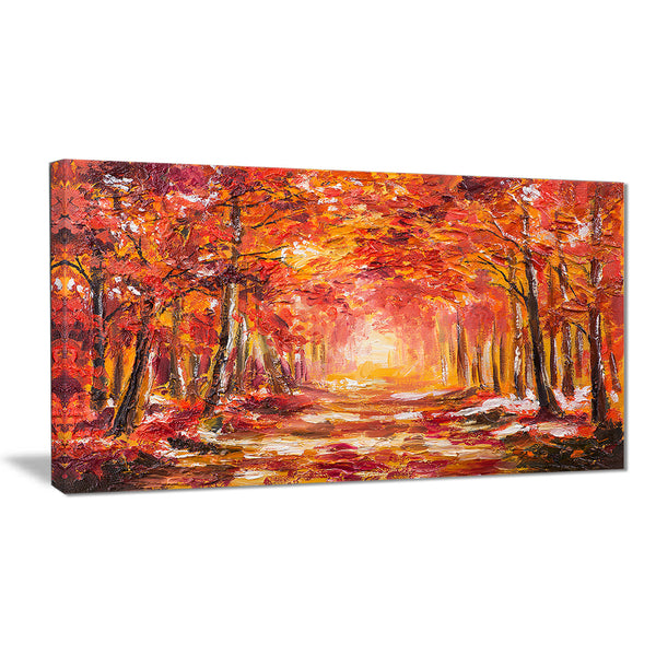 autumn forest in red shade landscape canvas art print PT6228