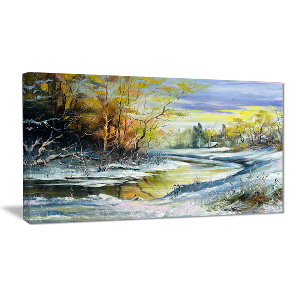 river in the spring woods landscape canvas art print PT6229