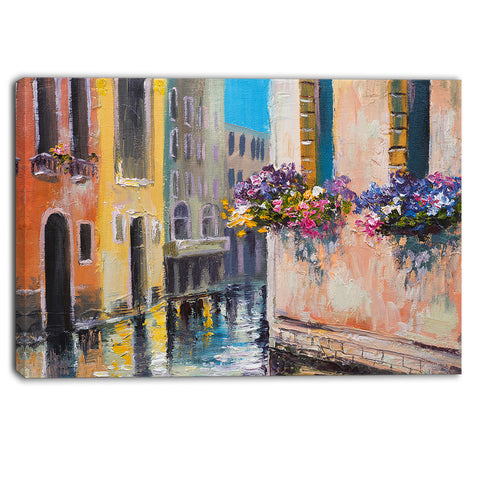 canal in venice with flowers cityscape canvas art print PT6231