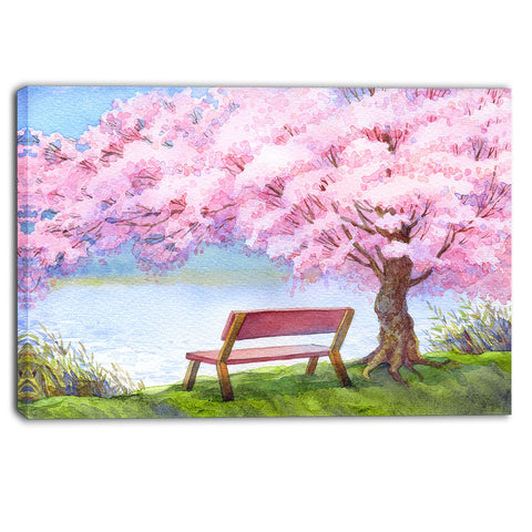 bench under flowering peach tree floral canvas print PT6235