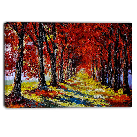 autumn forest with red leaves landscape canvas print PT6236