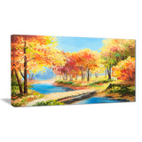 wooden bridge in colorful forest landscape canvas print PT6238