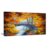 fall forest with a bridge landscape canvas artwork PT6240