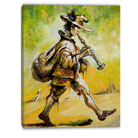 wandering troubadour with pipe music canvas art print PT6241