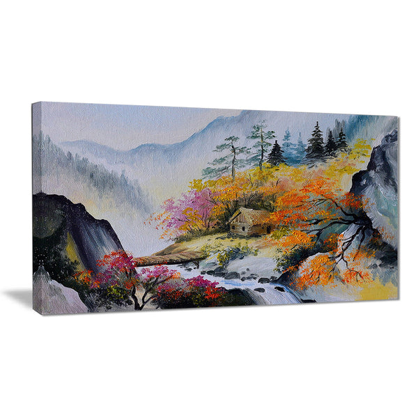 house in the mountains landscape canvas art print PT6248