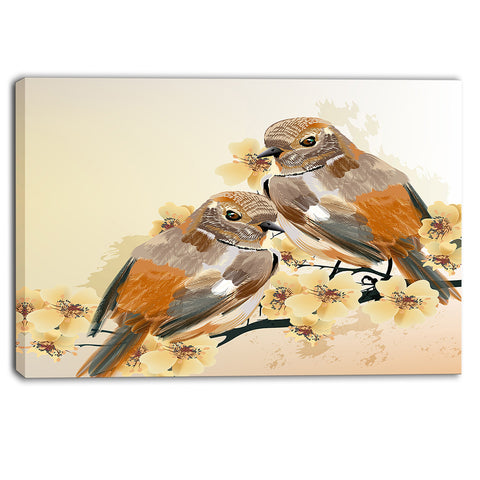 bird couple on a branch animal canvas art print PT6251