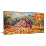 railway track in village landscape canvas art print PT6265
