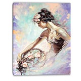 girl with flower bouquet floral canvas art print PT6273