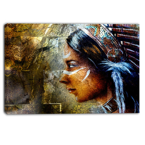 indian woman with headdress portrait canvas art print PT6276