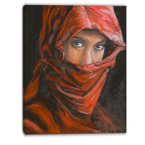 arabian woman in hijab portrait canvas art print PT6278
