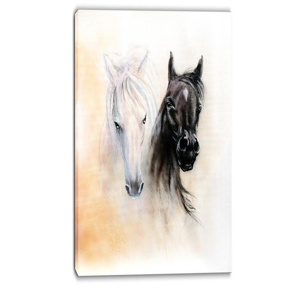 black and white horse heads animal canvas print PT6280