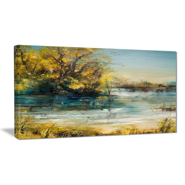 trees by the lake landscape canvas art print PT6283