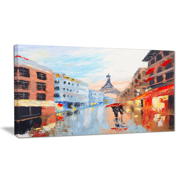 couple walking in paris romance canvas art print PT6289