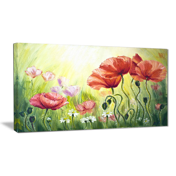 poppies in morning floral canvas print PT6293