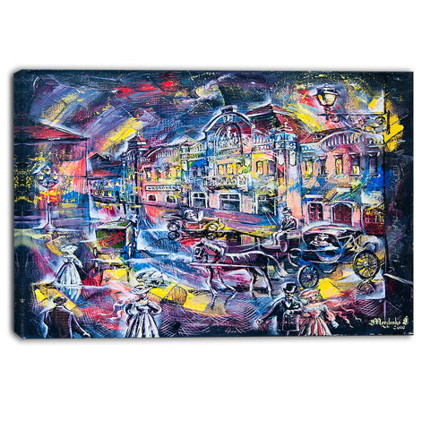 surreal city in graphics abstract canvas art print PT6294
