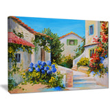 Houses near Sea Landscape Canvas Art Print