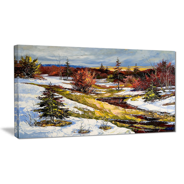 spring valley with river landscape canvas print PT6308