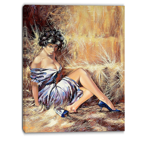 girl setting on floor portrait canvas art print PT6311