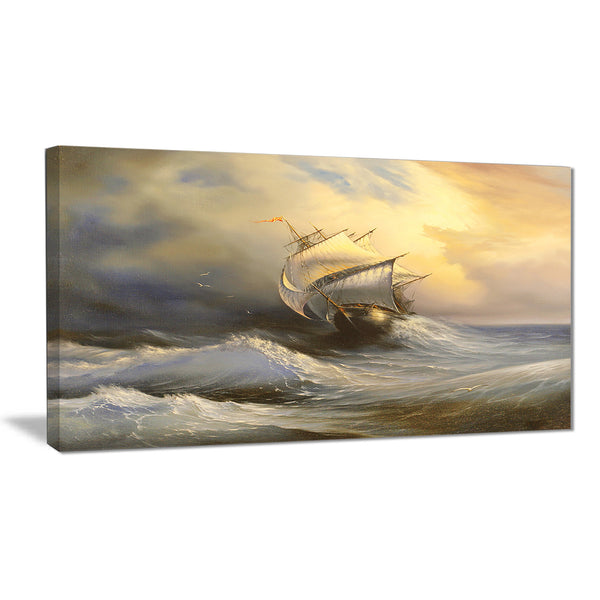 vessel in stormy sea seascape canvas print PT6324