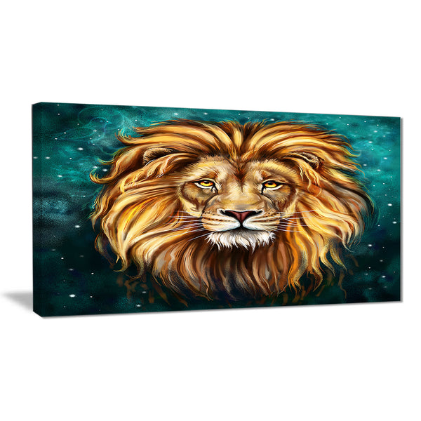 lion head in blue animal canvas art print PT6331