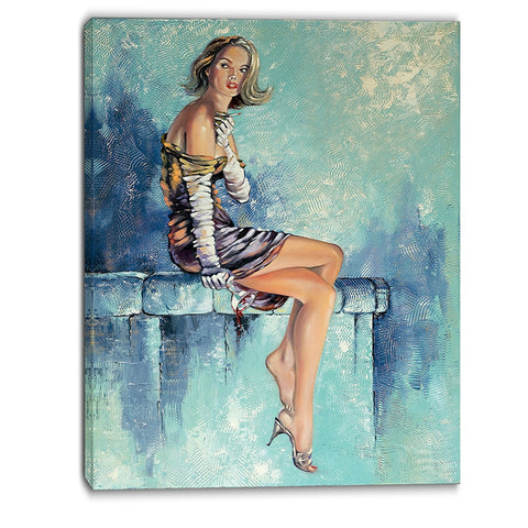 girl with glass portrait canvas art print PT6332