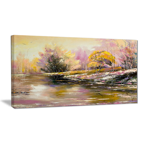 river's farwell to autumn landscape canvas art print PT6333