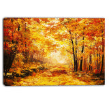 yellow autumn forest landscape canvas art print PT6343