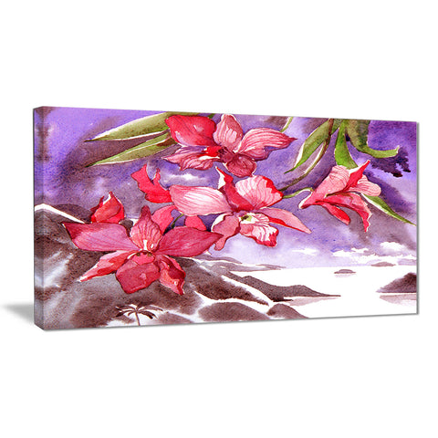 Red Orchid with Sea Floral Canvas Art Print