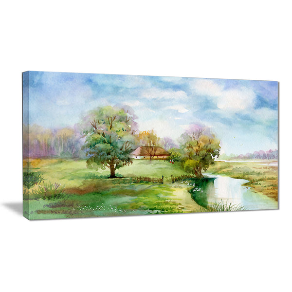 village life landscape canvas art print PT6354
