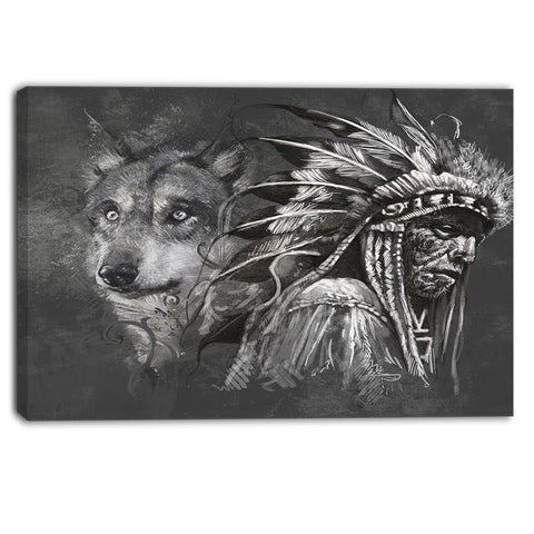 wolf and american indian chief canvas art print PT6363