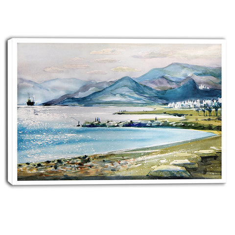 blue hills over sea landscape canvas print PT6364
