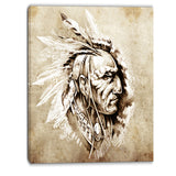 american indian illustration portrait canvas print PT6367
