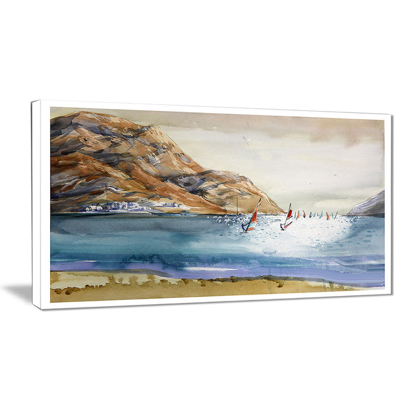 mountains in sea seascape canvas art print PT6371