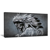 american indian tattoo art portrait canvas print PT6372