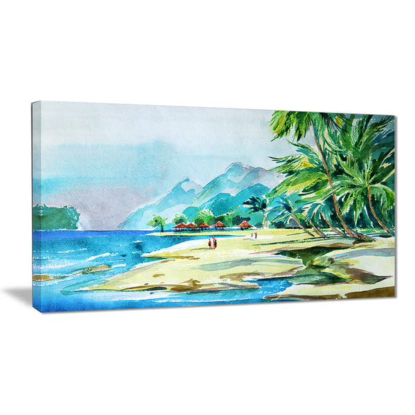 view from shore landscape canvas art print PT6373