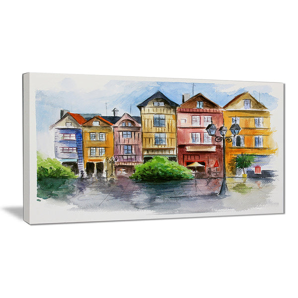 little city in watercolor landscape canvas print PT6378