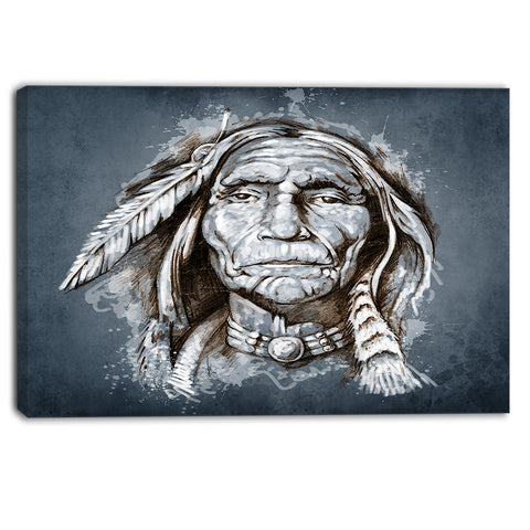 sketch of tattoo american indian portrait canvas print PT6383