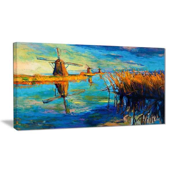 windmills with sky and water landscape canvas print PT6384