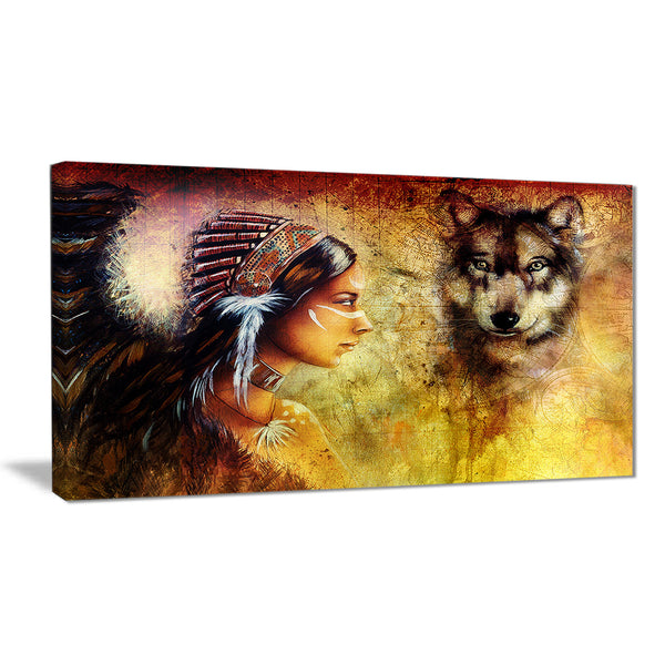 woman with wolf portrait canvas art print PT6395