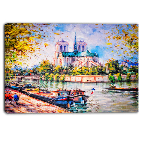 notre dame paris landscape canvas art print PT6398