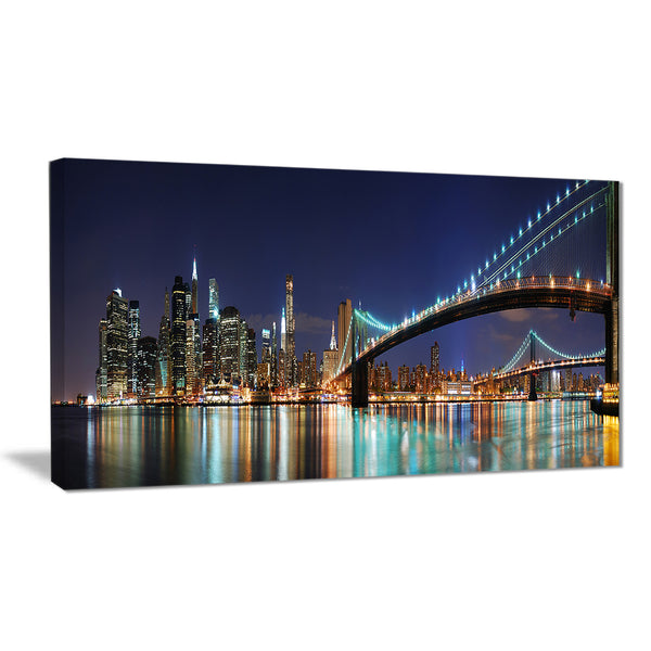 brooklyn bridge panorama cityscape photo canvas art print PT6405