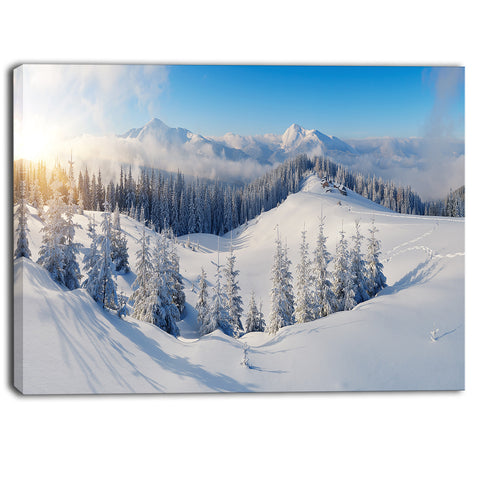 winter mountains panorama photography canvas print PT6420