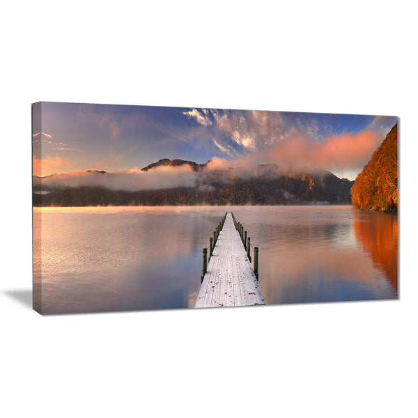 jetty in lake japan seascape photography canvas print PT6429