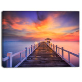 wooden bridge landscape photography canvas print PT6440