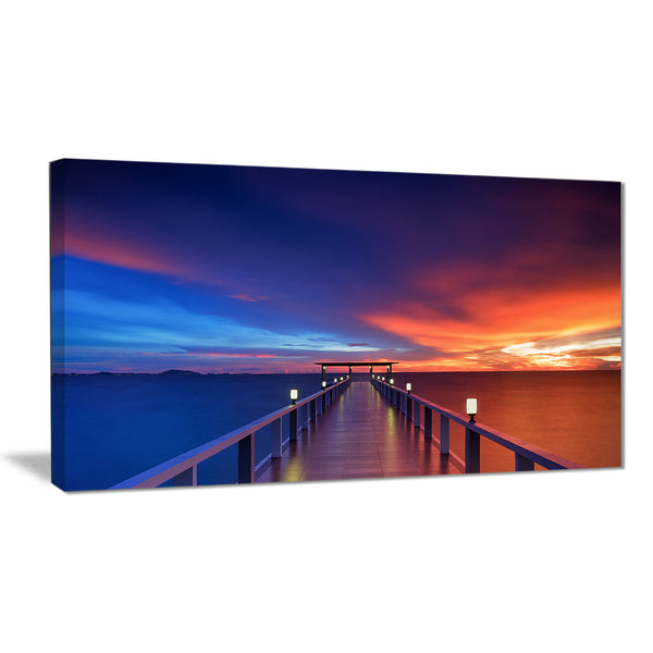 wooden pier seascape photography canvas art print PT6442