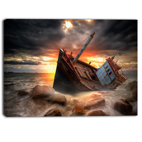 fishing boat beached landscape photography canvas print PT6452