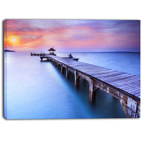 blue wooden bridge seascape photography canvas art PT6457