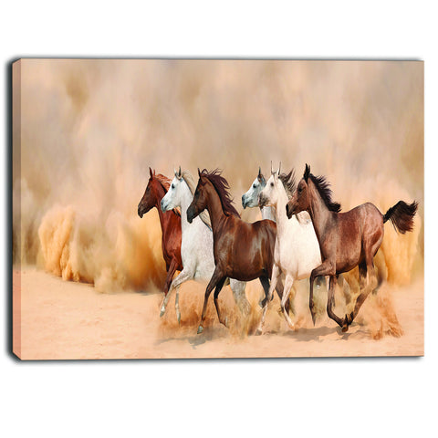 herd gallops in sand storm landscape photography canvas print PT6468