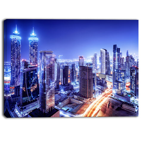 dubai downtown night scene cityscape photography canvas print PT6470